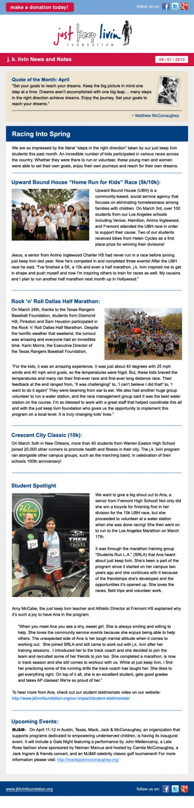 Just Keep Livin April Newsletter
