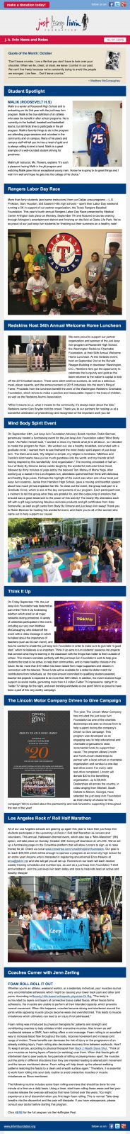 JK Livin' October Email Newsletter
