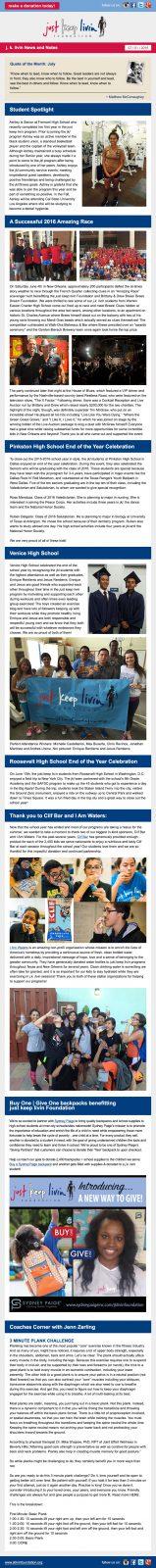 Just Keep Livin July Newsletter