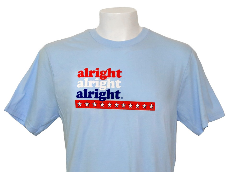 d0a4680b ... hear it for the red, white and blue! Celebrate a classic all American,  George Washington, by sportin' this light blue alright alright alright tee  shirt.